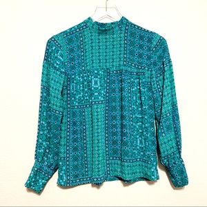 LOFT Boho Long Sleeve Blue Green Blouse | XSP